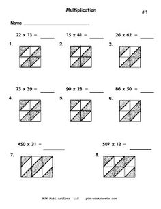 Here's a set of 10 different pages for practicing lattice multiplication.