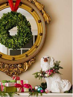 mirror, christmas wreaths, christmas style, christmas holidays, whimsical christmas, christma decor, dog, christmas mantles, christmas mantels