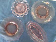 Vintage Four 4  Pink Depression Glass Plates by BitofHope on Etsy