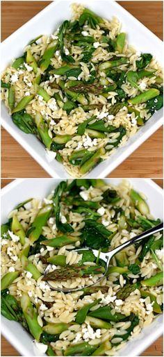 Lemon Orzo Salad with Asparagus, Spinach, and Feta on twopeasandtheirpod.com. Love this fresh and healthy salad!