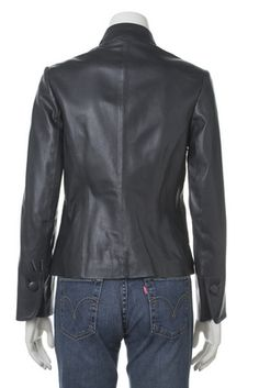 Womens leather jacket custom made style 1075NL back image