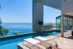 Stunning pool overlooking the ocean in Malibu.