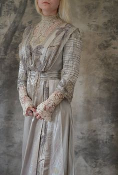 Edwardian Gown Silver Silk Wedding Dress