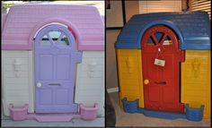 DIY, repainted Little Tikes / Fisher Price plastic outdoor playhouse.  Before and After.