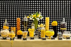 Nuts.com Yellow, White, and Black Candy Buffet #nutsdotcom and #wedding @Nuts.com