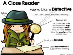 Close Reading Detective Poster from WingedOne on TeachersNotebook.com -  (8 pages)  - A Close Reader Works Like a Detective and Does Careful, Purposeful Reading