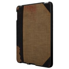 A hip woven brown book cover texture #iPad case with faux leather black reinforcements on the spine and corners for a unique look. Mimics an old #notebook. Ideal as a #gift or just for yourself. #iPhone cases also available. $56.20
