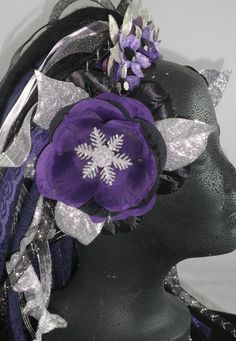 Purple Black and Silver Ice Queen Snowflake Crown