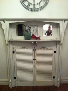 Trash to Treasure Decorating: A Decorative Fireplace Mantel with Old Shutters