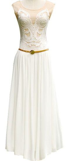 White Sleeveless Embroidery Chiffon Tank Dress