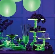 Glow in the dark party food table. (Use glow in the dark spray paint on top of clear primer)