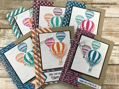 Set of 6 cards using Lift Me Up bundle and a few basic supplies. Quick & easy cards for all occasions. Cards by: Jackie Bolhuis