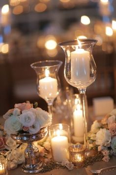 wedding tables, idea, candle holders, candles, wedding blog, candle centerpieces, antique silver, table centerpieces, wedding table decorations
