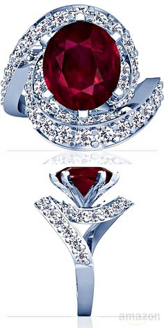 ☆ 18K White Gold Oval Cut Ruby Ring