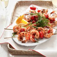 Skewered Shrimp -- These shrimp skewers are ready in a flash, meaning you'll have plenty of time to prep some fancier veggie sides. #myplate #protein #vegetables