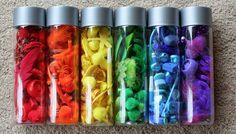 discoveri bottl, color, scavenger hunts, discovery bottles, sensory bottles, toddler, rainbow, water bottles, kid