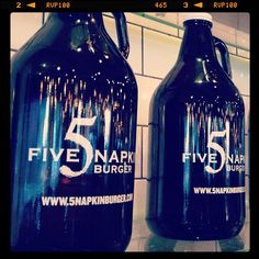 New 5 Napkin Burger Growlers - $8.  Available at all New York locations.  Photo by 5napkinburger