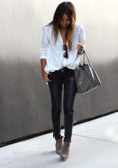 Anine Bing jeans, Silence & Noise shirt, Isabel Marant x H&M belt, Isabel Marant booties, Karen Walker sunglasses, Goyard bag.