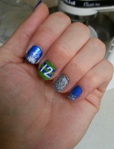 My nails for the 8-17-13 Seahawks game! Go Hawks!!! Win