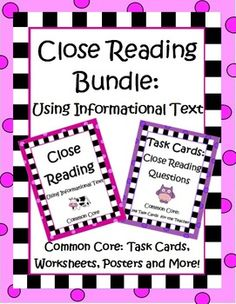 Awesome practice for 4th and 5th graders! Over 100 pages of worksheets, posters, question stem task cards and more to help your students really understand close reading strategies. $