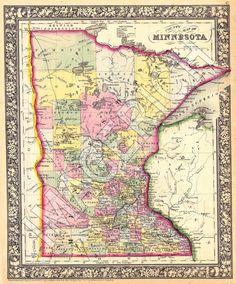Vintage State Map - Minnesota 1866, via Imagerich Etsy.