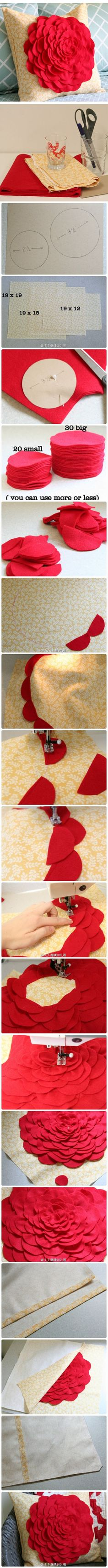 Flower Pillow Tutorial sewing machines, craft, living rooms, fabric flowers, pillow covers, throw pillows, flower tutorial, felt flowers, diy pillows