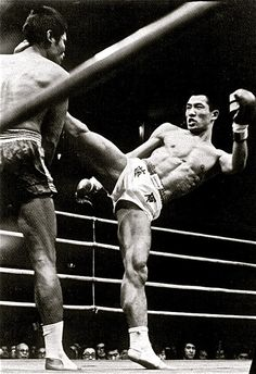 Toshio Fujiwara, the first non-Thai to win a national Muay Thai title belt in Bangkok
