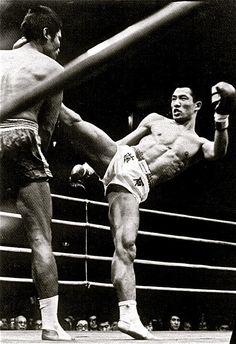 Toshio Fujiwara, the first non-Thai to win a national Muay Thai title belt in Bangkok