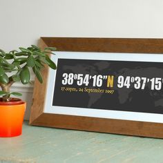 latitude and longitude of a special place. awesome gift idea. where you met... where you got married...