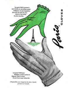 Vintage French ad for Paris Gloves (1959). #vintage #1950s #gloves #ads