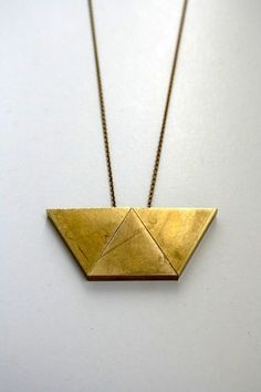 Brass Trapezoid Necklace