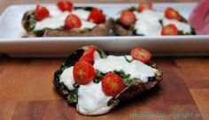 Stuffed Portobello Pizza #ChooseDreams #WeekdaySupper: A family friendly vegetarian dinner of portobello mushrooms stuffed with pesto, cherry tomatoes and mozzarella cheese. It's healthy and delicious!