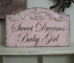 SWEET DREAMS Baby Girl Pink Shabby Custom by thebackporchshoppe. $34.95, via Etsy.