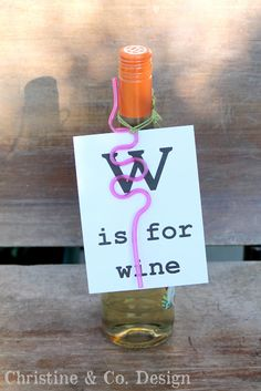 Teacher gift--Wine bottle flash card.  Christine & Co.