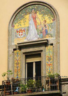 balcony in Milan , province of Milan, Lombardy region Italy