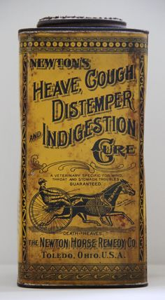 1892 - 1910 Antique Newton's Heave Cough Distemper And Indigestion Cure Horse Remedy Tin Skeleton Death