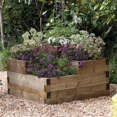 garden planters, raised bed gardens, rais bed, forest, garden idea