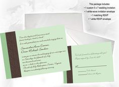 mint green and chocolate brown invitations <3