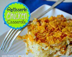 Rotisserie Chicken Casserole    MomOnTimeout.com - A delicious casserole made easy with rotisserie chicken. #dinner #recipe #chicken