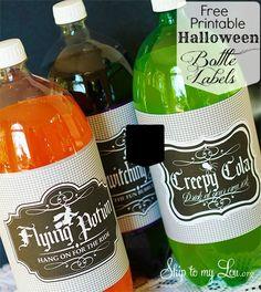 Free Halloween Soda Bottle Printables! www.skiptomylou.org #halloween #halloweenprintables