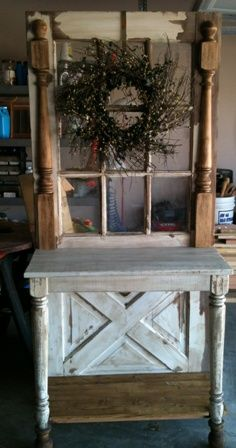 Lovely primitive hall table repurposed from an old cross buck door. Early 1930's table legs repurposed for this project. Purchase price $250.00. Buyer must pick up. No delivery available. Email primraggz@hotmail.com if interested. Thanks.