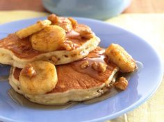 Oatmeal-Brown Sugar Pancakes with Banana-Walnut Syrup bisquick, bananawalnut syrup, oatmeal pancakes, breakfast, bananas, sugar pancak, pancake recipes, walnuts, oatmealbrown sugar