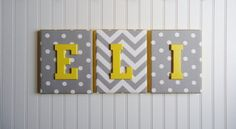 Nursery Decor, Upholstered Letters, Nursery Letters, Personalized, Nursery Art, Gray and White Chevron and Polka Dots, Yellow Letter on Etsy, $20.99