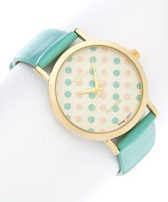 Mint & Coral Polka Dot Watch