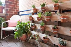 Outdoor planter on a wood pallet