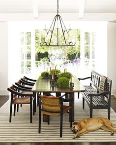 Combination of bench and mid-century chairs, warm neutrals, black