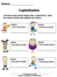 FREE: Capitalization Worksheet