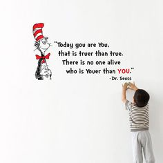 Dr Seuss Quote   Youer than you Wall Word Sticker by mollsdesigns, $32.00