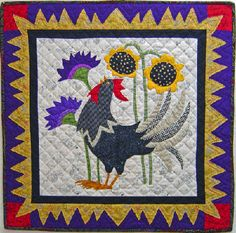 Cock-A-Doodle Do! Downloadable Pattern at Piece o' Cake Designs download pattern, patterns, cakes, art quilt, rooster, piec, appliqu quilt, cake designs, chicken quilt