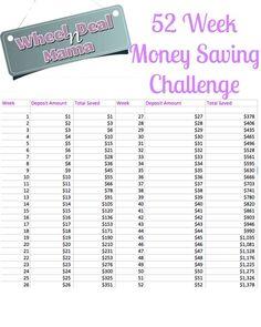 52 Week Money Saving Challenge -- Save $1378 with this Plan!   Week by week!